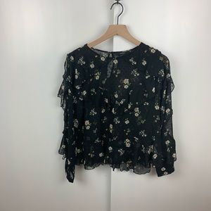 FOREVER 21 Sheer Black Floral Ruffle Blouse Medium